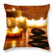 Stones Cairn and Candles Throw Pillow by Olivier Le Queinec