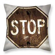 Stop Throw Pillow by Caitlyn  Grasso