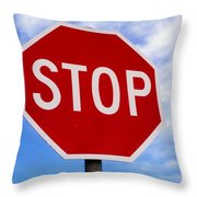 Stop Sign Ireland Throw Pillow by The Irish Image Collection