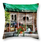 Store - Florist Throw Pillow by Mike Savad