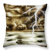 Storm Throw Pillow by Les Cunliffe