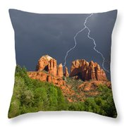 Storm Over Cathedral Rock Throw Pillow by Alexey Stiop