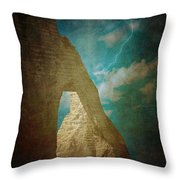 Storm Over Etretat Throw Pillow by Loriental Photography