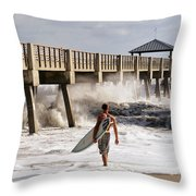 Storm Surfer Throw Pillow by Laura  Fasulo