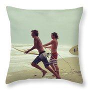 Storm Surfers Throw Pillow by Laura Fasulo