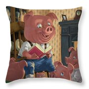 Story Telling Pig With Family Throw Pillow by Martin Davey