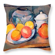 Straw Covered Vase Sugar Bowl And Apples Throw Pillow by Paul Cezanne