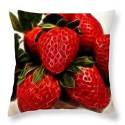 Strawberries Expressive Brushstrokes Throw Pillow by Barbara Griffin