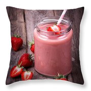 Strawberry smoothie Throw Pillow by Jane Rix