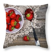 Strawberry Vintage Throw Pillow by Jane Rix