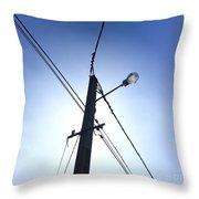 Street Lamp And Power Lines Throw Pillow by Bernard Jaubert