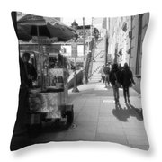 Street Vendor And Stairs In New York City Throw Pillow by Dan Sproul