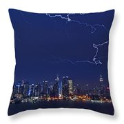 Strikes And Bolts In Nyc Throw Pillow by Susan Candelario