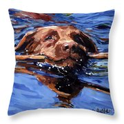 Strong Swimmer Throw Pillow by Molly Poole