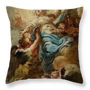 Study For The Assumption Of The Virgin Throw Pillow by Jean Baptiste Deshays de Colleville