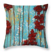 Stunning Abstract Landscape Elegant Trees Floating Dreams I By Megan Duncanson Throw Pillow by Megan Duncanson