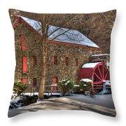 Sudbury Wintery Grist Mill Throw Pillow by Mark Valentine