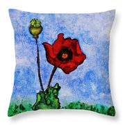 Summer Day Poppy Throw Pillow by Sarah Loft