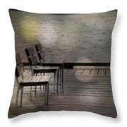 Summer Dock Waterfront Fine Art Photograph Throw Pillow by Laura  Carter