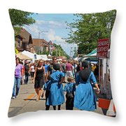 Summer Festival In Berne Indiana Throw Pillow by Suzanne Gaff