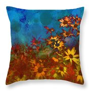 Summer Sizzle Abstract Flower Art Throw Pillow by Ann Powell