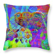 Summertime At Santa Cruz Beach Boardwalk 5D23905 square Throw Pillow by Wingsdomain Art and Photography