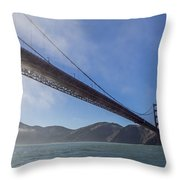 Sun Beams Through The Golden Gate Throw Pillow by Scott Campbell