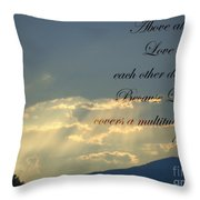 Sun Rays 1 Peter Chapter 4 Verse 8 Throw Pillow by Jannice Walker