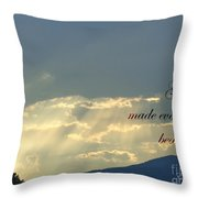 Sun Rays Ecclesiastes Chapter 3 Verse 11 Throw Pillow by Jannice Walker