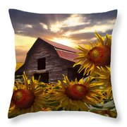 Sunflower Dance Throw Pillow by Debra and Dave Vanderlaan