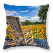 Sunflower Farm Throw Pillow by Debra and Dave Vanderlaan