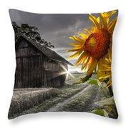 Sunflower Watch Throw Pillow by Debra and Dave Vanderlaan