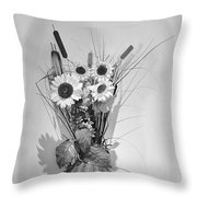 Sunflowers In A Basket Throw Pillow by Christine Till