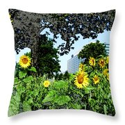 Sunflowers Outside Ford Motor Company Headquarters in Dearborn Michigan Throw Pillow by Design Turnpike