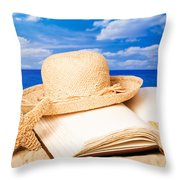 Sunhat In Sand Throw Pillow by Amanda And Christopher Elwell