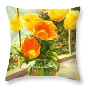 Sunlit Tulips Throw Pillow by Madeleine Holzberg