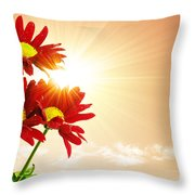 Sunrays Flowers Throw Pillow by Carlos Caetano