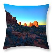 Sunrise At Arches National Park Throw Pillow by Tara Turner