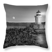 Sunrise At Bug Light Bw Throw Pillow by Susan Candelario