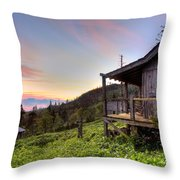 Sunrise At Mt Leconte Throw Pillow by Debra and Dave Vanderlaan