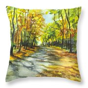 Sunrise On A Shady Autumn Lane Throw Pillow by Carol Wisniewski