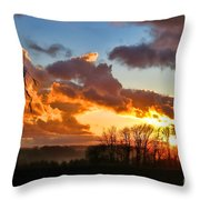 Sunrise Over Countryside Throw Pillow by Olivier Le Queinec