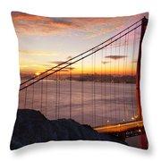 Sunrise Over The Golden Gate Bridge Throw Pillow by Brian Jannsen
