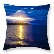 Sunset At Parksville Beach Throw Pillow by Christi Kraft