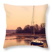 Sunset At The Creek Throw Pillow by Pixel Chimp