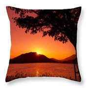 Sunset At The Lake Throw Pillow by Beverly Claire Kaiya