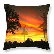 Sunset Ballerina Throw Pillow by Joyce Dickens