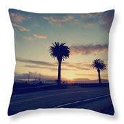 Sunset Drive Throw Pillow by Laurie Search