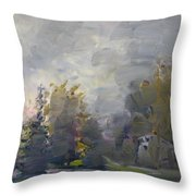 Sunset In A Foggy Fall Day Throw Pillow by Ylli Haruni