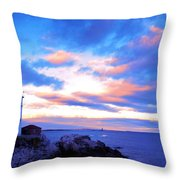 Sunset In Fork Williams Lighthouse Park Portland Maine State Throw Pillow by Paul Ge